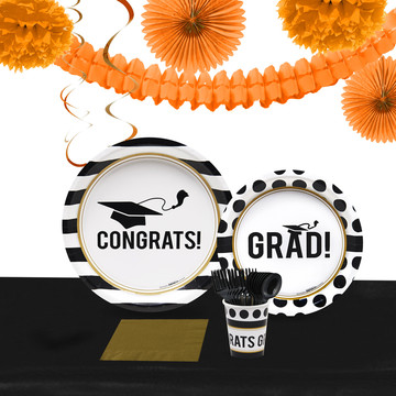 Graduation Party Pack for 40 With Orange Decoration Kit