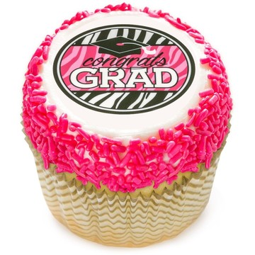 "Graduation Pink 2"" Edible Cupcake Topper (12 Images)"