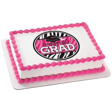 Graduation Pink Quarter Sheet Edible Cake Topper (Each)