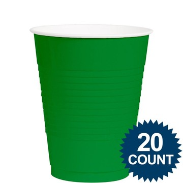 Green 12 Oz. Plastic Cups (20 Pack)