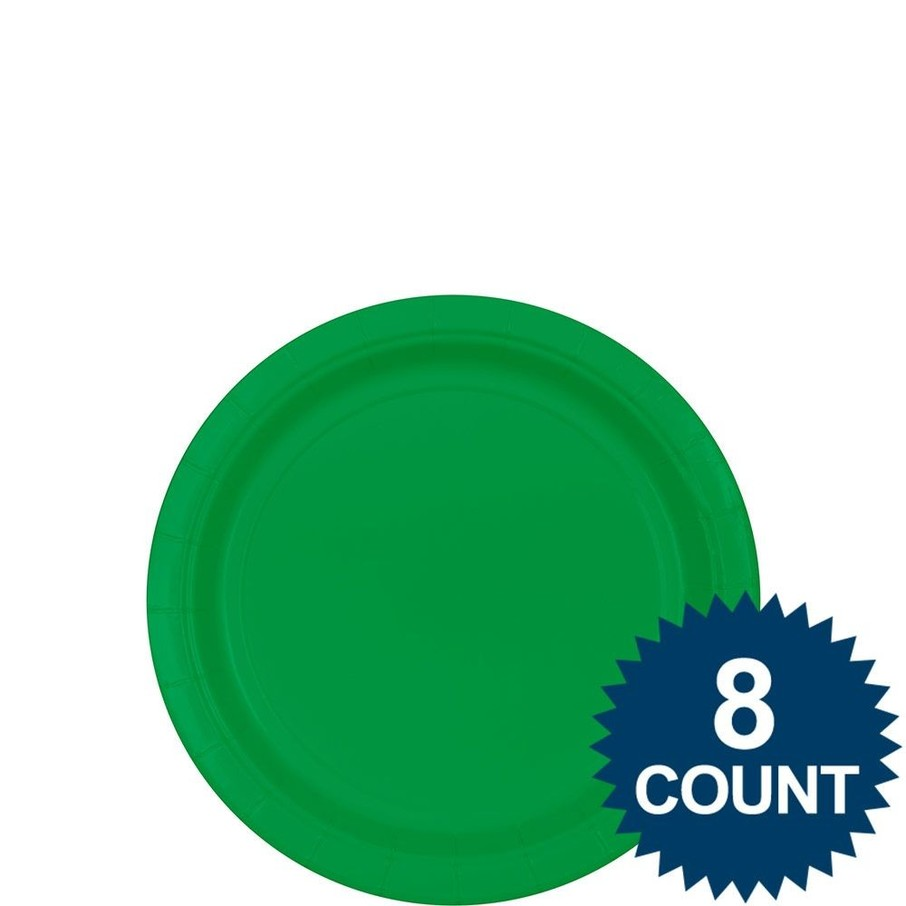 """View larger image of Green 7"""" Paper Cake Plates (8 Pack)"""