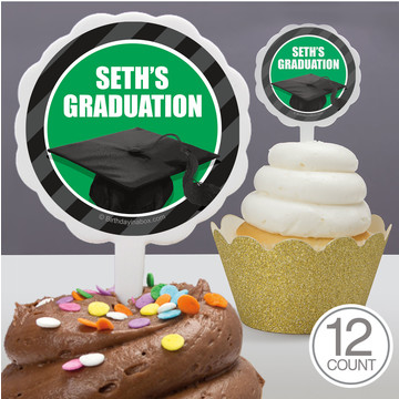 Green Caps Off Graduation Personalized Cupcake Picks (12 Count)