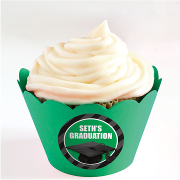 Green Caps Off Graduation Personalized Cupcake Wrappers (Set of 24)