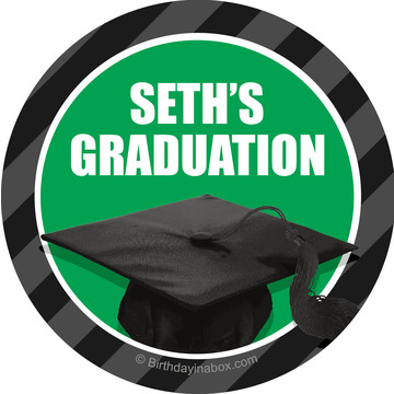 Green Caps Off Graduation Personalized Mini Stickers (Sheet of 24)
