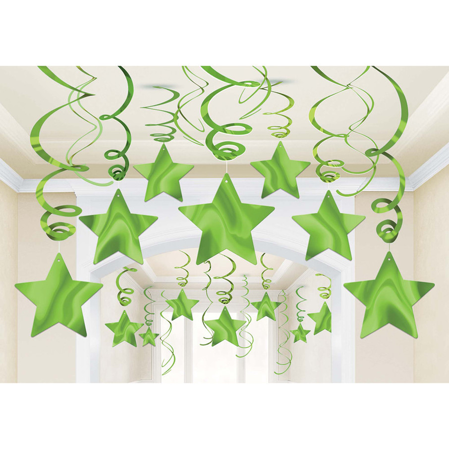 View larger image of Green Foil Star Hanging Decorations (30 Count)