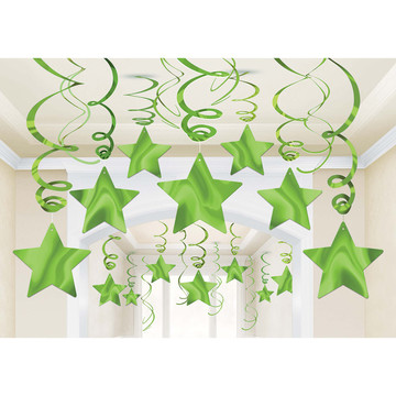 Green Foil Star Hanging Decorations (30 Count)