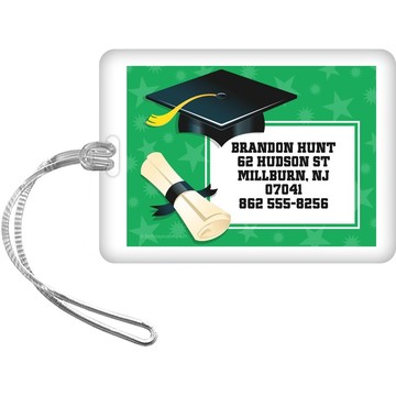 Green Grad Personalized Luggage Tag (Each)