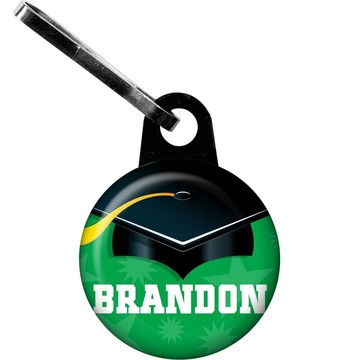 Green Grad Personalized Zipper Pull (Each)