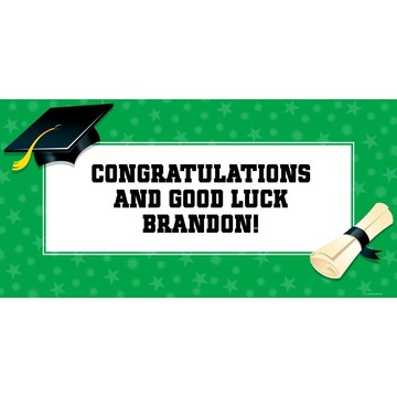 "Green Graduation Personalized Giant Banner 60x30"" (Each)"