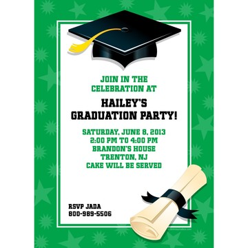 Green Graduation Personalized Invitation (Each)