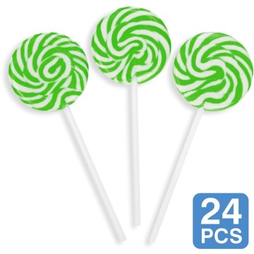 "Green Swirl 2"" Lollipops (24 Pack)"