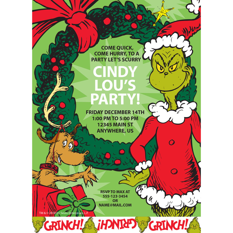 View larger image of Grinch Personalized Invitation (Each)