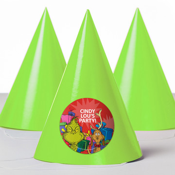Grinch Personalized Party Hats (8 Count)