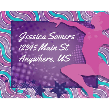 Tumble and Twirl Gymnastics Personalized Address Labels (Sheet of 15)