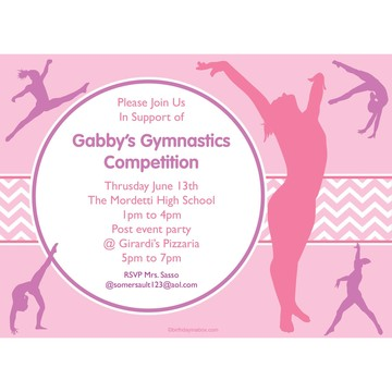 Gymnastics Personalized Invitation (Each)