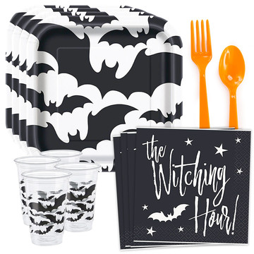 Halloween Bats Standard Tableware Kit (Serves 8)