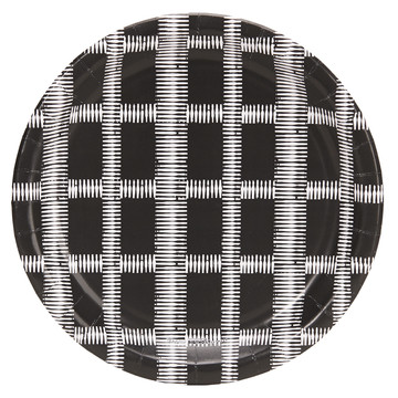 Halloween Black and White Grid Dinner Plate