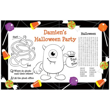 Halloween Personalized Activity Mats (8-Pack)