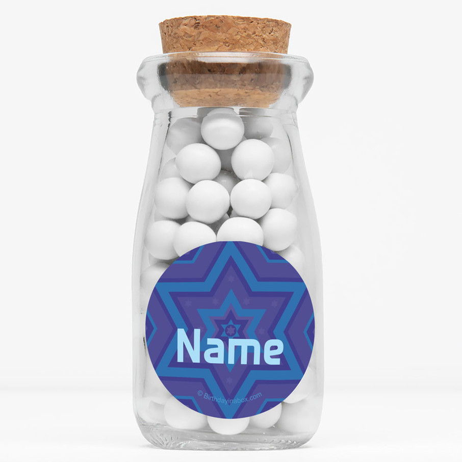 "View larger image of Hanukkah Personalized 4"" Glass Milk Jars (Set of 12)"