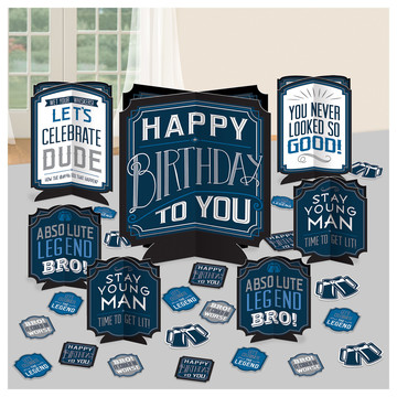 Happy Birthday Man Table Centerpiece Decoration Kit