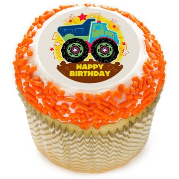 "Happy Birthday Truck 2"" Edible Cupcake Topper (12 Images)"