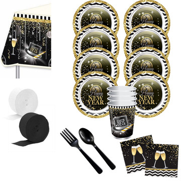 Happy New Year Deluxe Tableware Kit (Serves 8)