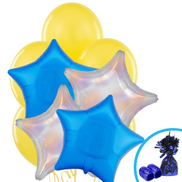 Silver Dazzler & Blue Star Balloon Bouquet