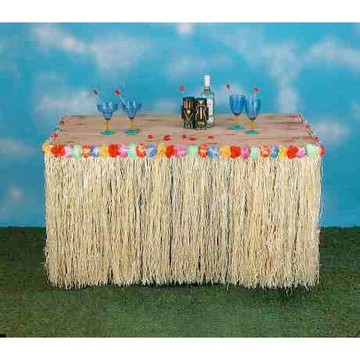 "Hawaiian Grass 9' x 30"" Table Skirt"