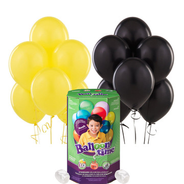 Helium Tank with Black and Yellow Balloons