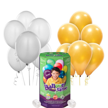 Helium Tank with Gold and Silver Balloons