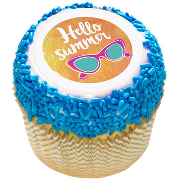 "Hello Summer 2"" Edible Cupcake Topper (12 Images)"