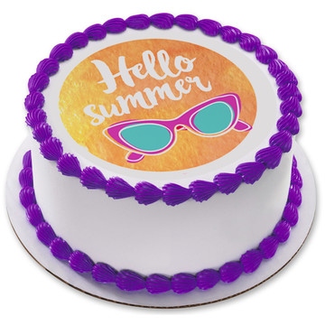 "Hello Summer 7.5"" Round Edible Cake Topper (Each)"