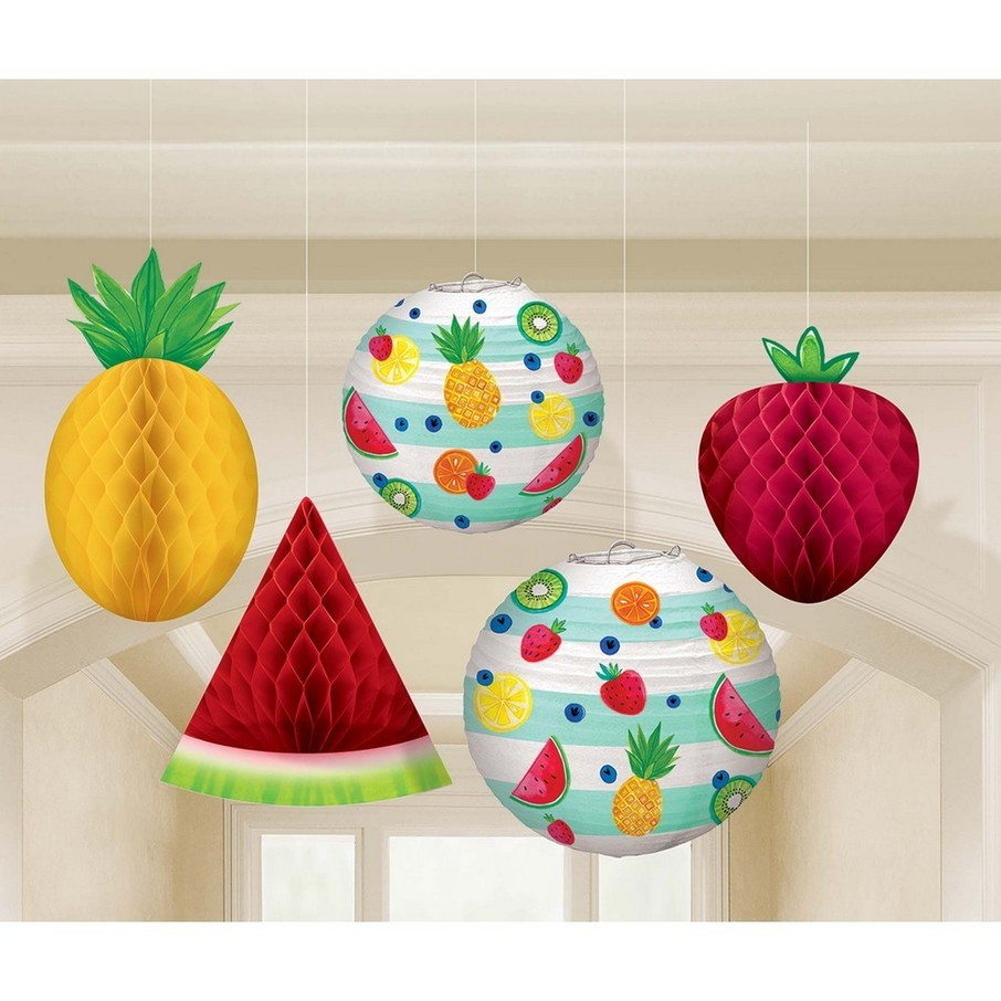 View larger image of Hello Summer Honeycomb Hanging Fruit & Paper Lanterns