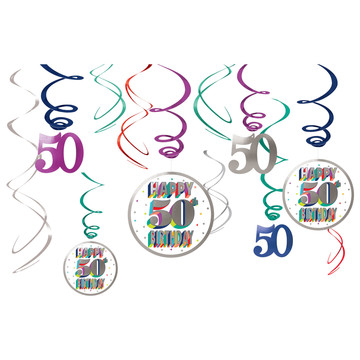 Here's to Your 50th Birthday Hanging Swirl Decorations