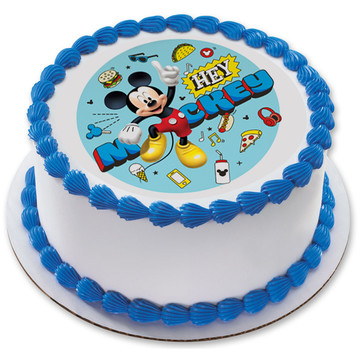 """Hey Mickey 7.5"""" Round Edible Cake Topper (Each)"""
