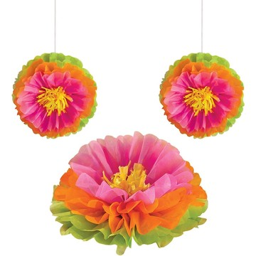 "Hibiscus 16"" Fluffy Flower Tissue Decorations (3 Pack)"