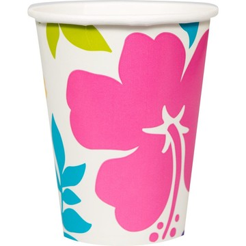 Hibiscus White 9oz Cups (25 Count)