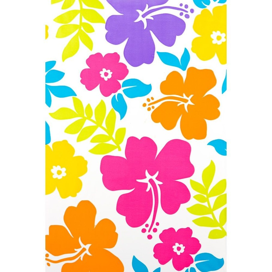 View larger image of Hibiscus White Plastic Table Cover (Each)