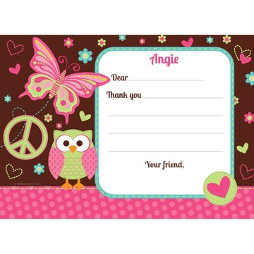 Hippie Chick Personalized Thank You Note (each)