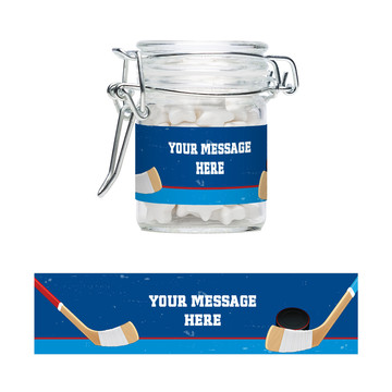 Hockey Party Personalized Glass Apothecary Jars (12 Count)