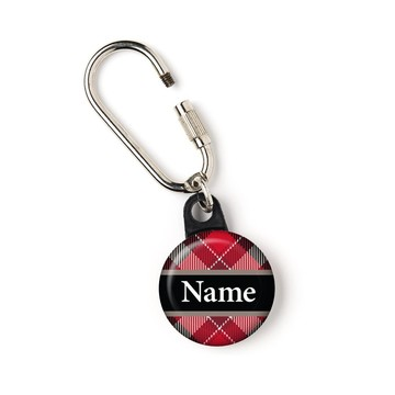 """Holiday Plaid Personalized 1"""" Carabiner (Each)"""