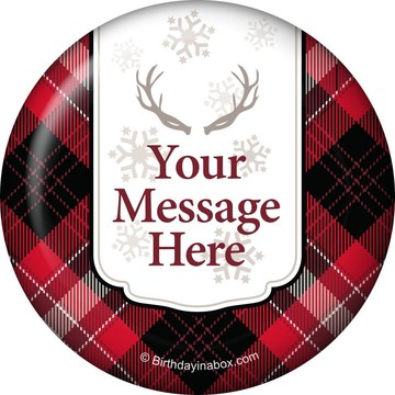 Holiday Plaid Personalized Button (Each)
