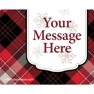 Holiday Plaid Personalized Rectangular Stickers (Sheet of 15)