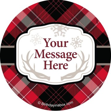 Holiday Plaid Personalized Stickers (Sheet of 12)