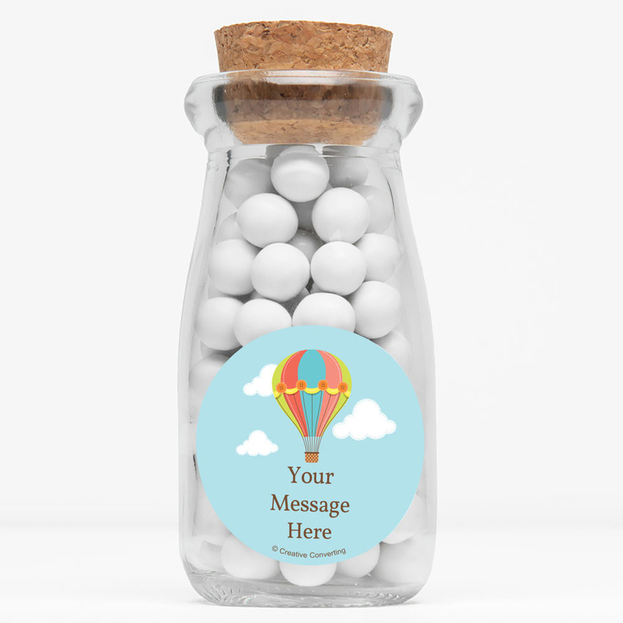 """View larger image of Hot Air Balloon Personalized 4"""" Glass Milk Jars (Set of 12)"""