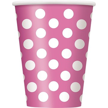 Hot Pink Dots 12oz Cups (6 Pack)
