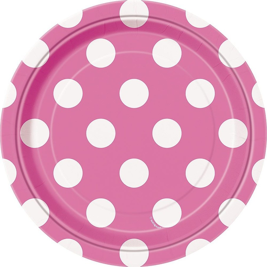 "View larger image of Hot Pink Dots 7"" Cake Plates (8 Pack)"