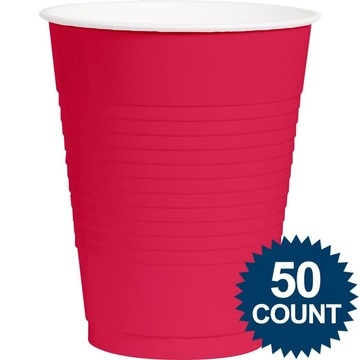 Hot Pink Plastic 16oz. Cup (50 Pack)
