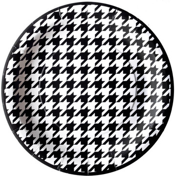 "Houndstooth Party Plates - 9"" (8)"