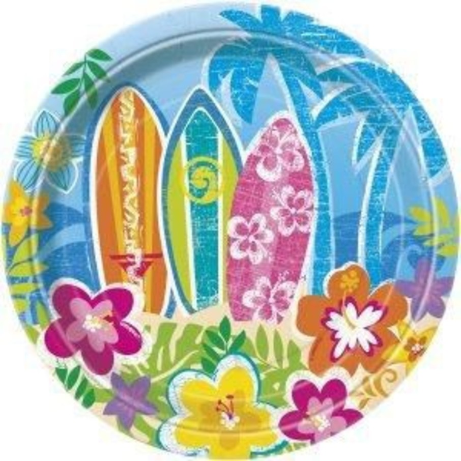 "View larger image of Hula Beach Party 7"" Cake Plates (8 Pack)"
